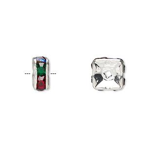 Bead, Glass Rhinestone Silver-plated Brass, Multicolored Dark, 8x4mm Squaredelle. Sold Per Pkg 10
