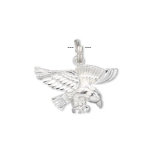 Charm, Sterling Silver, 23x13mm Eagle. Sold Individually