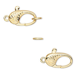Clasp, Lobster Claw, Gold-plated Brass, 16x9mm Double-sided Leaf Design Jumpring. Sold Individually