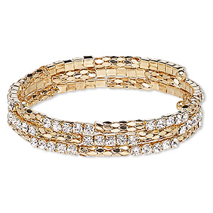 Bracelet, Glass Rhinestone Steel Memory Wire Gold-finished Steel, Clear, 12mm Wide Cupchain Rounded Diamond, Adjustable 7-1/2 8-1/2 Inches. Sold Individually 7775JD