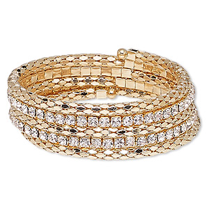 Bracelet, Glass Rhinestone Steel Memory Wire Gold-finished Steel, Clear, 20mm Wide Cupchain Rounded Diamond, Adjustable 6-1/2 7-1/2 Inches. Sold Individually 7778JD