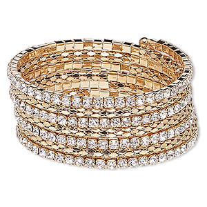 Bracelet, Glass Rhinestone Steel Memory Wire Gold-finished Steel, Clear, 27mm Wide Cupchain Rounded Diamond, Adjustable 7-1/2 8-1/2 Inches. Sold Individually 7779JD