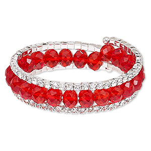 Bracelet, Glass / Glass Rhinestone / Steel Memory Wire / Silver-plated Steel, Red Clear, 17mm Wide Cupchain, Adjustable 7-1/2 8-1/2 Inches. Sold Individually 7780JD