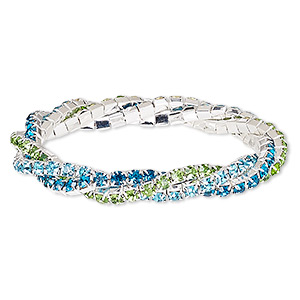 Bracelet, Stretch, Glass Rhinestone Silver-plated Brass, Aqua Blue / Mediterranean Blue / Green, 9mm Wide Braided Cupchain, 7 Inches. Sold Individually 7781JD