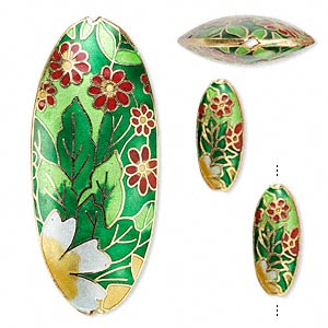 Bead, Cloisonné, Enamel Gold-finished Copper, Multicolored, 25x11mm 65x28mm Puffed Oval Flower Leaves Design. Sold Per 3-piece Set