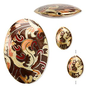 Bead, Cloisonné, Enamel Gold-finished Copper, Multicolored, 20x15mm 58x40mm Puffed Oval. Sold Per 3-piece Set