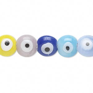 Bead, Lampworked Glass, Opaque Multicolored, 10x7mm Double-sided Rondelle Wards Evil Eye Design. Sold Per 16-inch Strand