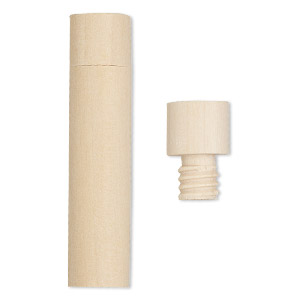 Bottle, Wood (natural), 2-1/2 X 6/11 Inch Cylinder Twist-off Cap. Sold Per Pkg 4