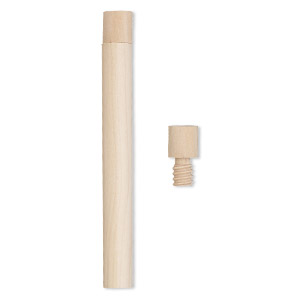 Bottle, Wood (natural), 4 X 5/11 Inch Cylinder Twist-off Cap. Sold Per Pkg 4