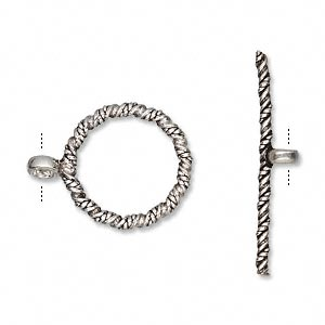 Clasp, Toggle, Antiqued Sterling Silver, 19mm Spiral Twist Round. Sold Individually