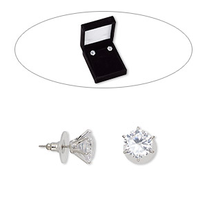 Earstud Earrings Cubic Zirconia Clear
