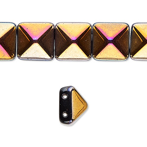 Spacer, Preciosa, Czech Pressed Glass, Opaque Black Magenta Gold, 11x11mm 2-strand Pyramid, Fits 5.5mm Bead. Sold Per 8-inch Strand, Approximately 15 Spacers 112-01336-00-12/12mm-23980-28010