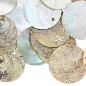 100 Natural Chinese Mussel Shell 10mm Coin Drop Charms