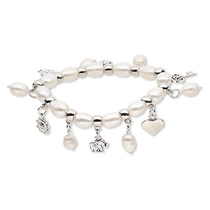 "Bracelet, Stretch, Cultured Freshwater Pearl (bleached) / Antique Silver-coated Plastic / Antique Silver-plated Steel / ""pewter"" (zinc-based Alloy), White, 10mm Wide, 7 Inches. Sold Individually 7882JD"