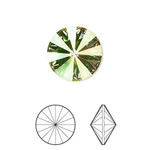98fee2b4b Chaton, Swarovski® crystal rhinestone, crystal luminous green, foil back,  14mm faceted rivoli (1122). Sold per pkg of 4.