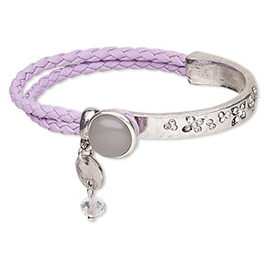 "Bracelet, Glass Rhinestone / Imitation Leather / Resin / Antique Silver-plated ""pewter"" (zinc-based Alloy), Purple / Grey / Clear, 14mm Wide, 7 Inches Button Clasp. Sold Individually 7904JD"
