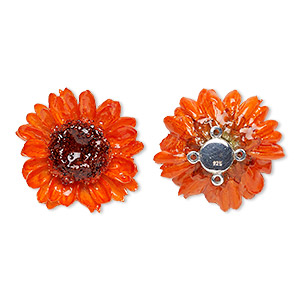 Focal, Daisy / Polyresin / Sterling Silver, Orange, 30-35mm. Sold Individually