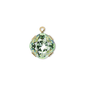 Drop, Swarovski® Crystals Gold-plated Brass, Chrysolite, 13x13mm Diamond (18704). Sold Individually