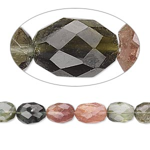 Bead, Multi-tourmaline (natural), 7x5mm Hand-cut Faceted Oval, C Grade, Mohs Hardness 7 7-1/2 . Sold Per 16-inch Strand 7946GS