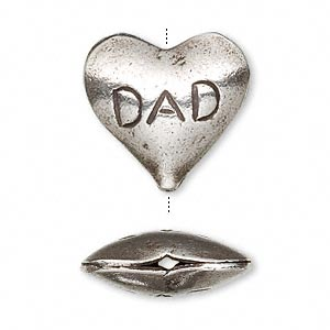 "Bead, Hill Tribes, Antiqued Fine Silver, 21x20mm Double-sided Puffed Heart ""Dad."" Sold Individually"