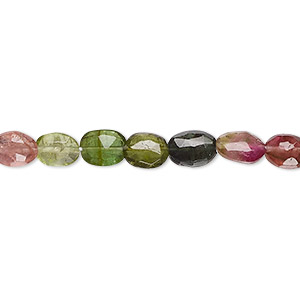 Bead, Multi-tourmaline (natural), 7x5mm Hand-cut Faceted Flat Oval, B- Grade, Mohs Hardness 7 7-1/2. Sold Per 16-inch Strand 7950GS