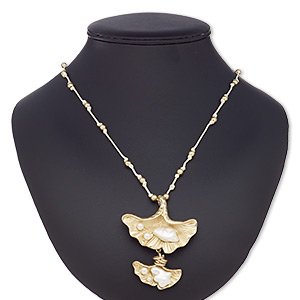 """Necklace, Plastic / Resin / Waxed Cotton Cord / Gold-coated Plastic / Gold-finished Steel / """"pewter"""" (zinc-based Alloy), Cream White, 67x57mm Ginkgo Leaf, Adjustable 32 Inches. Sold Individually 7952JD"""