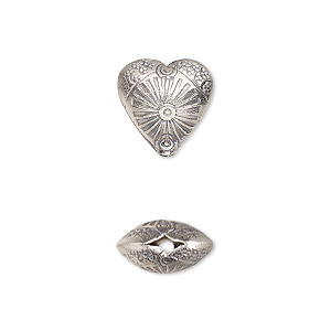 Bead, Hill Tribes, Antiqued Fine Silver, 12mm Double-sided Textured Puffed Heart Flower. Sold Individually