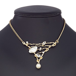 """Necklace, Glass Rhinestone / Acrylic / Resin / Gold-coated Plastic / Gold-finished Steel / """"pewter"""" (zinc-based Alloy), White Clear, 3 X 2-3/4 X 2-1/2 Inch Hammered Triangle, 16 Inches 2-inch Extender Chain Lobster Claw Clasp. Sold Individually 7958JD"""