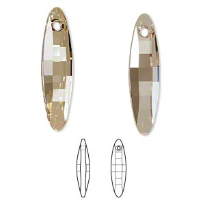 Focal, Swarovski® Crystals, Crystal Passions®, Crystal Golden Shadow, 40x10mm Faceted Ellipse Pendant (6470). Sold Individually 6470