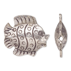Focal, Hill Tribes, Antiqued Fine Silver, 28x26mm Double-sided Fish. Sold Individually