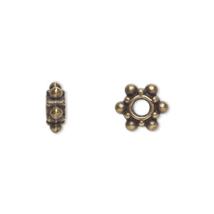 "Bead, Antique Brass-plated ""pewter"" (zinc-based Alloy), 8x4mm Rondelle. Sold Per Pkg 100"