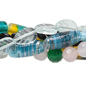 Bead Mix, Glass, Mixed Colors, 6mm-20x8mm Mixed Shape. Sold Per Pkg (5) 15-inch Strands