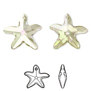Focal, Swarovski® Crystals, Crystal Passions®, Crystal Luminous Green, 30x28mm Faceted Starfish Pendant (6721). Sold Individually 6721