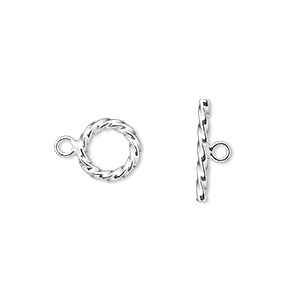 Clasp, Toggle, Sterling Silver, 9mm Twisted Ribbed Round. Sold Per Pkg 2