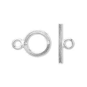 Clasp, Toggle, Sterling Silver, 14mm Flat Textured Round. Sold Individually