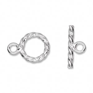 Clasp, Toggle, Sterling Silver, 14.5mm Heavy Twisted Round Diamond-cut Accents. Sold Individually