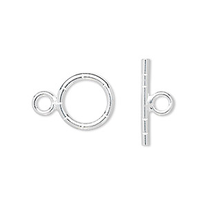 Clasp, Toggle, Sterling Silver, 13mm Notched Round. Sold Individually