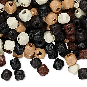 Bead Mix, Painted Wood, Mixed Colors, 5x5mm Cube. Sold Per 90-gram Pkg, Approximately 1,200 Beads