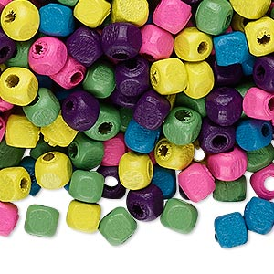 Bead Mix, Wood, Mixed Colors, 5x5mm Cube. Sold Per 400-gram Pkg, Approximately 6,000 Beads
