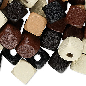 Bead Mix, Painted Wood, Mixed Colors, 10x10mm Cube. Sold Per 90-gram Pkg, Approximately 200 Beads