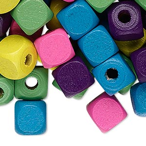 Bead Mix, Wood, Mixed Colors, 10x10mm Cube. Sold Per 90-gram Pkg, Approximately 200 Beads