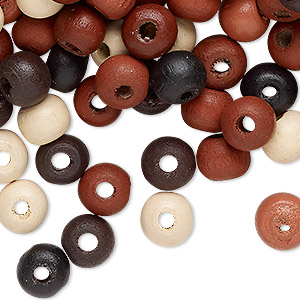 Bead Mix, Painted Wood, Mixed Colors, 7-8mm Irregular Round. Sold Per 90-gram Pkg, Approximately 600 Beads