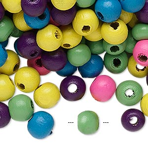 Bead Mix, Painted Wood, Mixed Colors, 7-8mm Irregular Round 2-2.5mm Hole. Sold Per 90-gram Pkg, Approximately 600 Beads