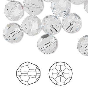 Bead, Swarovski® Crystals, Crystal Passions®, Crystal Clear, 10mm Faceted Round (5000). Sold Per Pkg 24 5000