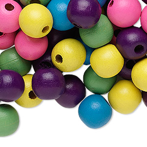 Bead Mix, Painted Wood, Mixed Colors, 13-14mm Irregular Round. Sold Per 90-gram Pkg, Approximately 110 Beads