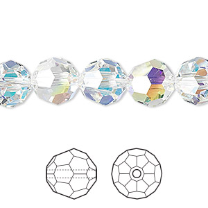 Bead, Swarovski® Crystals, Crystal Passions®, Crystal AB, 10mm Faceted Round (5000). Sold Per Pkg 24 5000