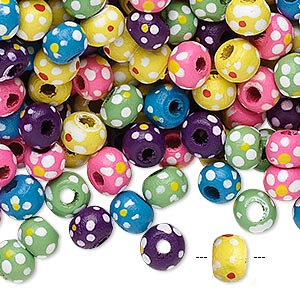 Bead Mix, Painted Wood, Mixed Colors, 5-6mm Irregular Round Flower Design. Sold Per 90-gram Pkg, Approximately 1,800 Beads