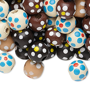 Bead Mix, Painted Wood, Mixed Colors, 9-10mm Irregular Round Flower Design. Sold Per 90-gram Pkg, Approximately 300 Beads