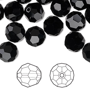 Bead, Swarovski® Crystals, Crystal Passions®, Jet, 10mm Faceted Round (5000). Sold Per Pkg 24 5000