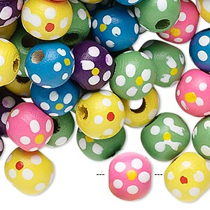 Bead Mix, Painted Wood, Mixed Colors, 9-10mm Irregular Round Flower Design. Sold Per 400-gram Pkg, Approximately 1,500 Beads
